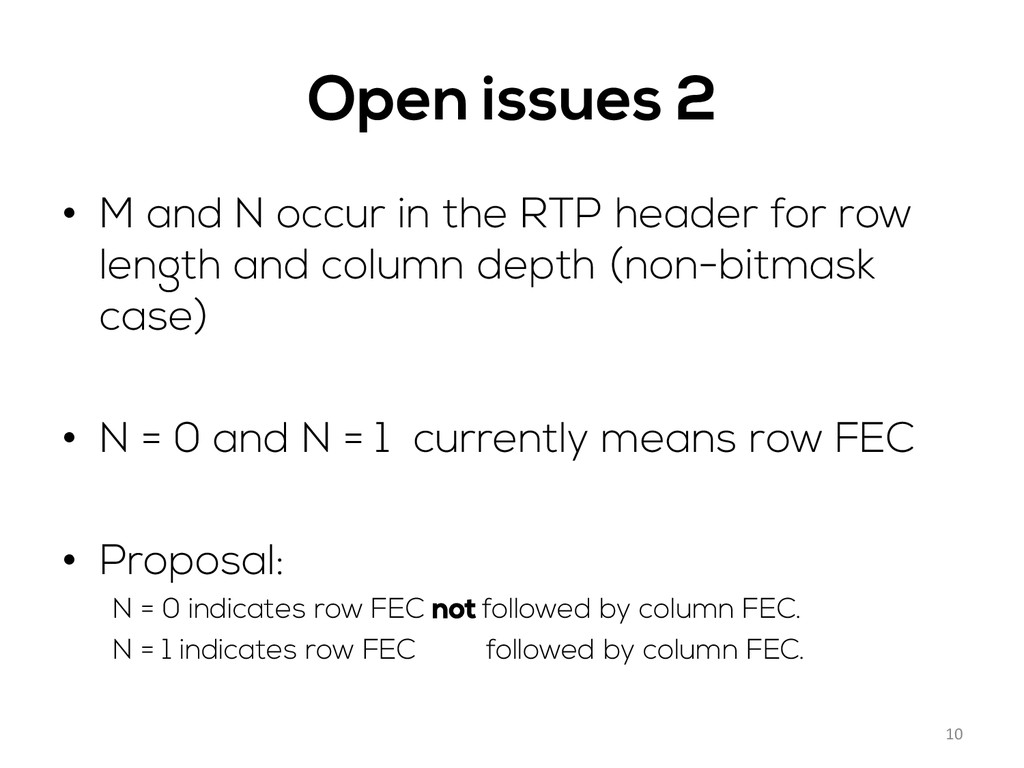 Open issues 2 • M and N occur in the RTP heade...