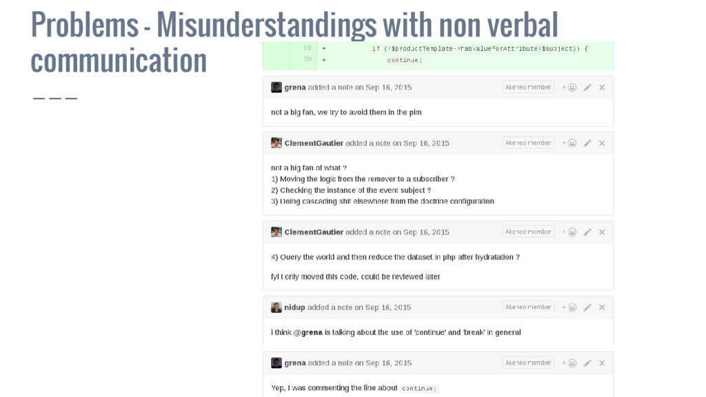 Problems - Misunderstandings with non verbal co...