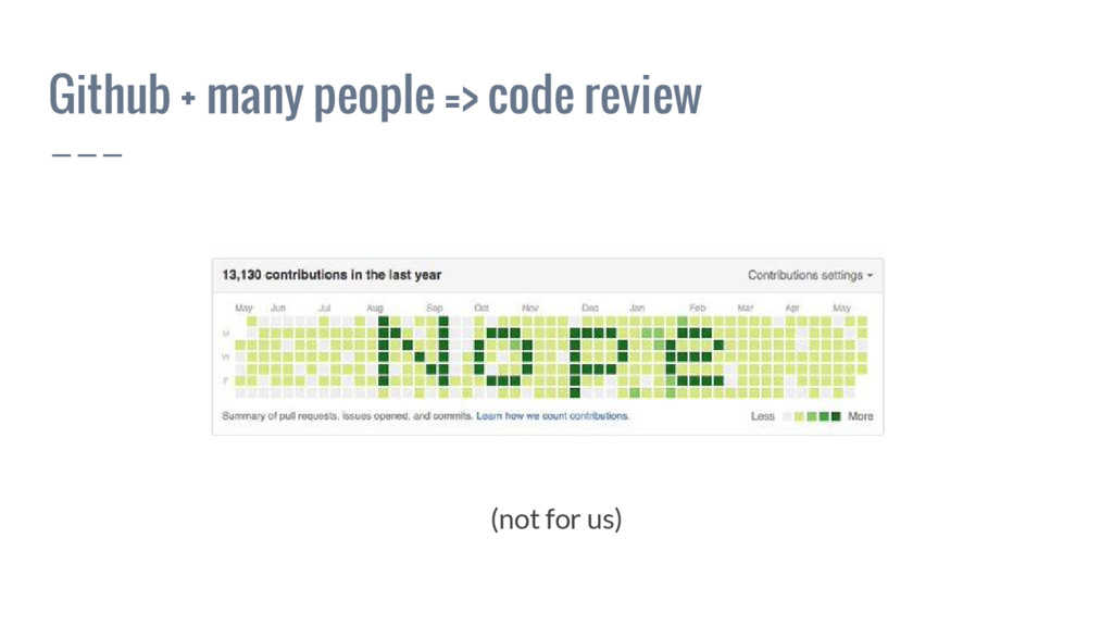 Github + many people => code review (not for us)