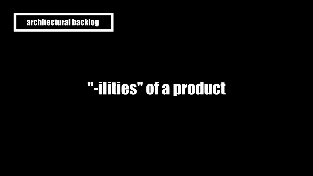 """""""-ilities"""" of a product architectural backlog"""