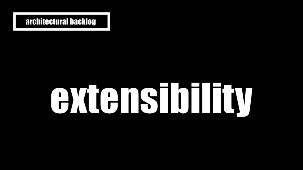 extensibility architectural backlog