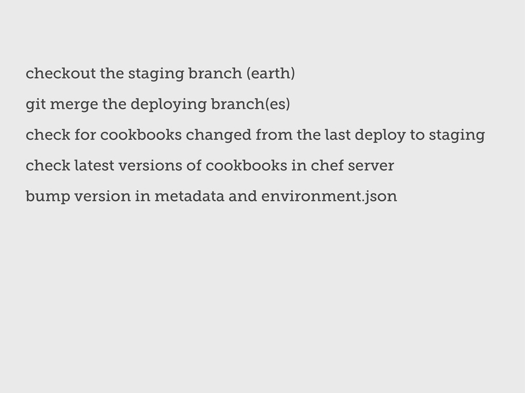 checkout the staging branch (earth) git merge t...
