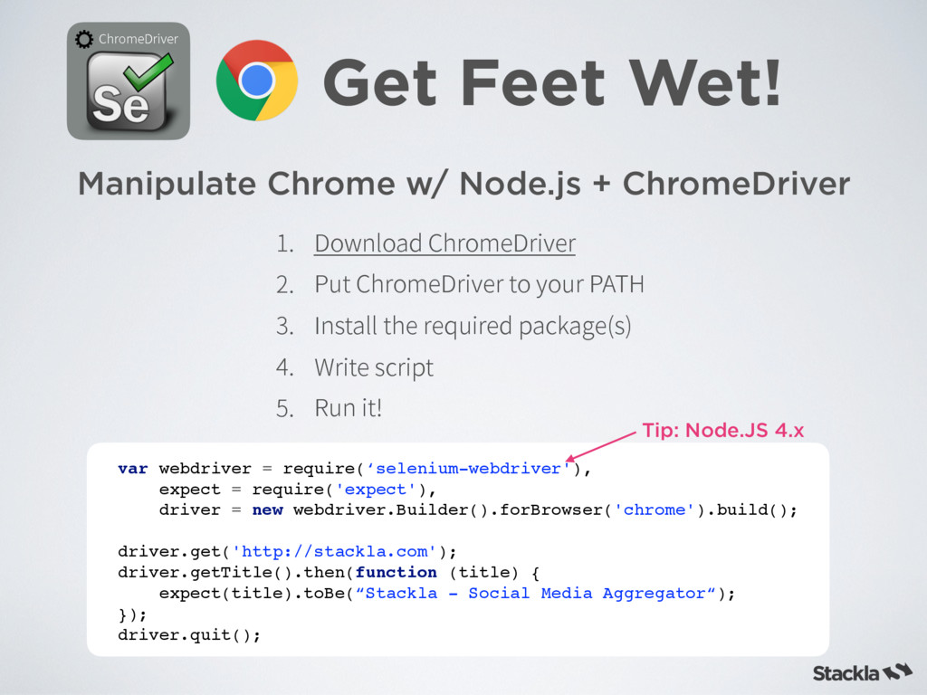 Manipulate Chrome w/ Node.js + ChromeDriver Get...