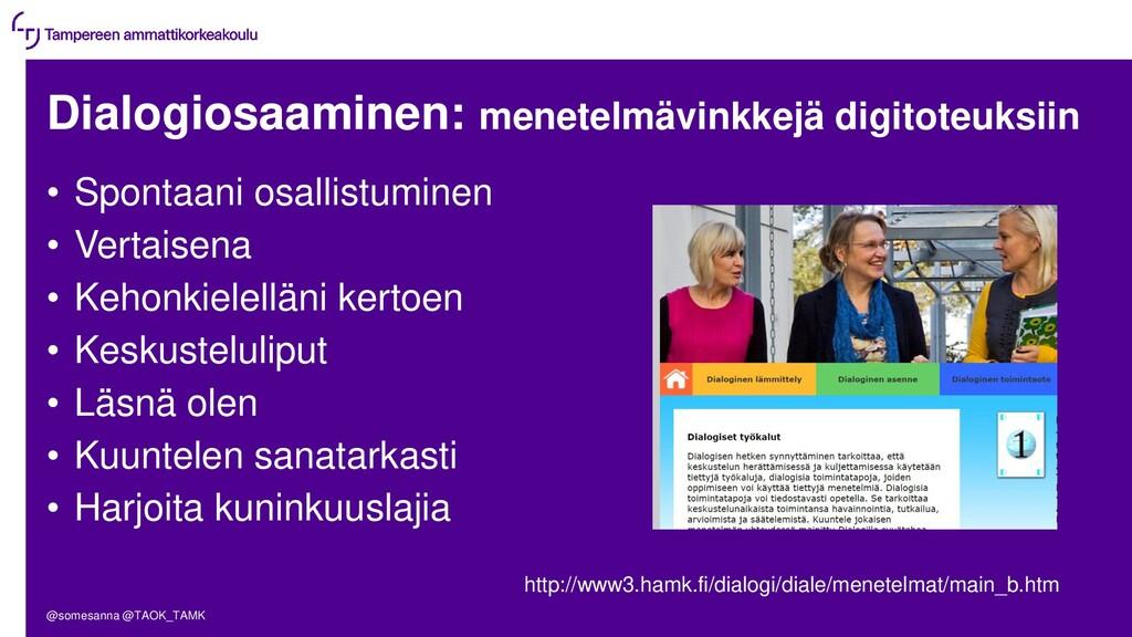 Dialogiosaaminen: menetelmävinkkejä digitoteuks...