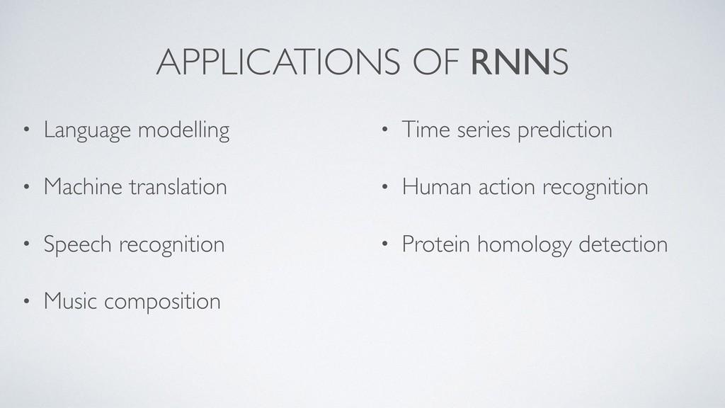 APPLICATIONS OF RNNS • Language modelling • Mac...