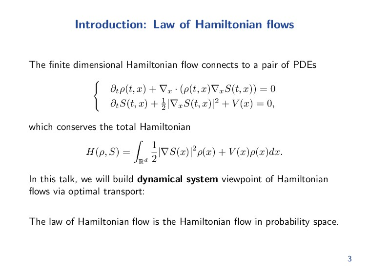 Introduction: Law of Hamiltonian flows The finite...