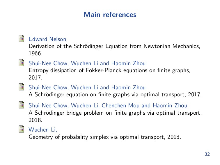 Main references Edward Nelson Derivation of the...