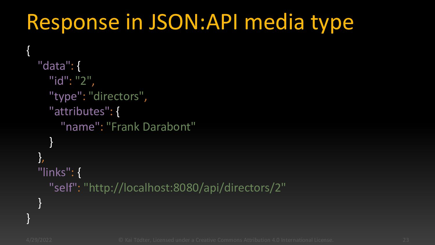"Response in JSON:API media type { ""data"": { ""id..."