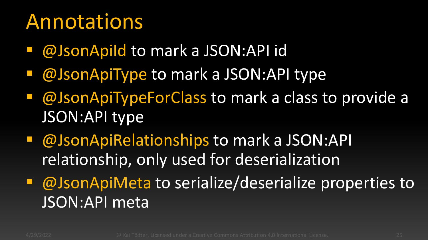 Annotations  @JsonApiId to mark a JSON:API id ...