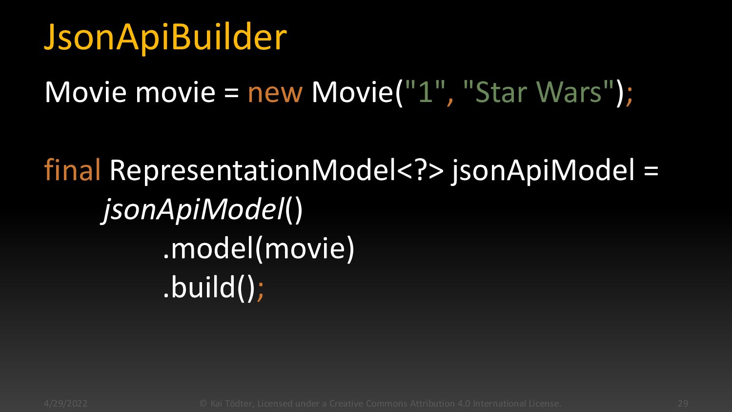 "JsonApiBuilder Movie movie = new Movie(""1"", ""St..."
