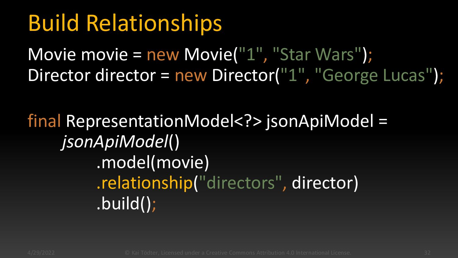 "Build Relationships Movie movie = new Movie(""1""..."