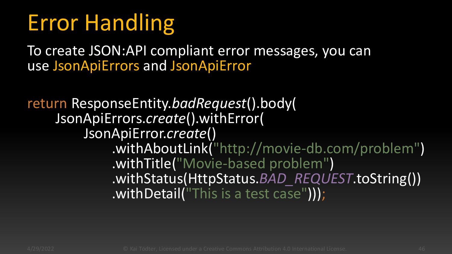 "Error Example { ""errors"": [ { ""links"": { ""about..."
