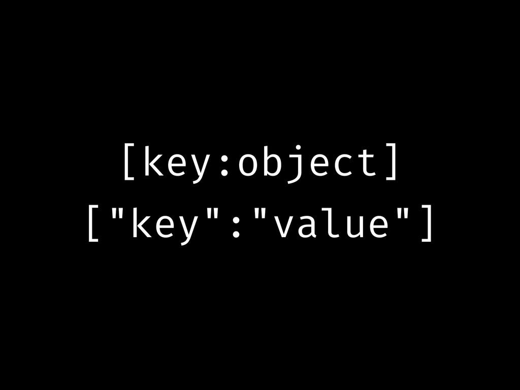 """[key:object] [""""key"""":""""value""""]"""