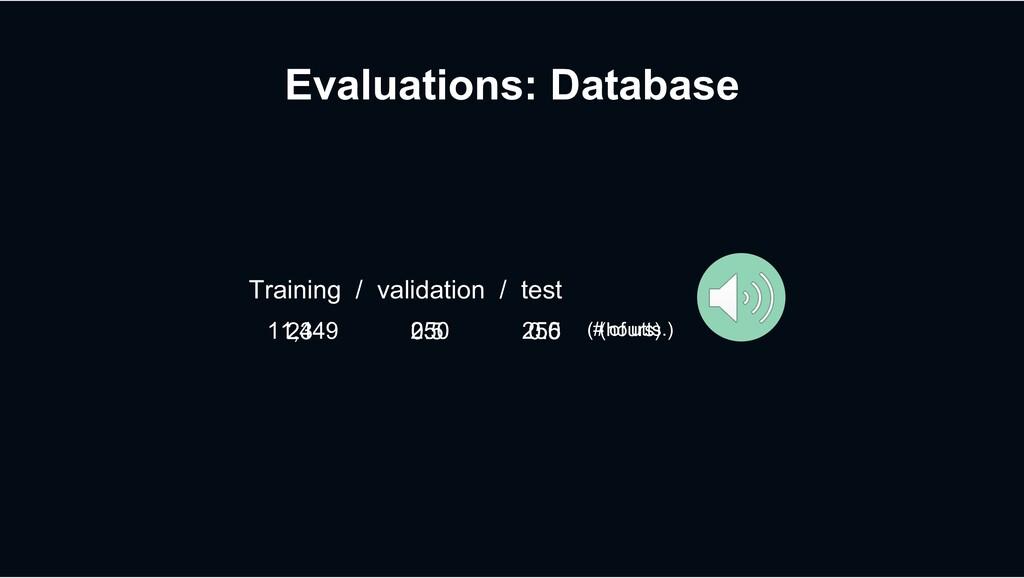 Evaluations: Database 11,449 250 250 Training /...