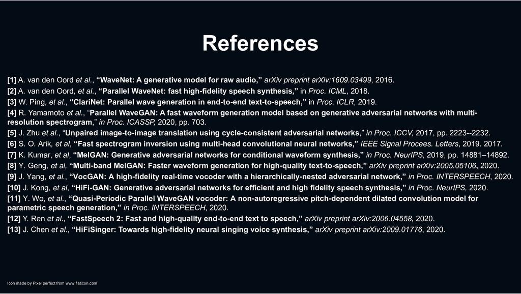 "References [1] A. van den Oord et al., ""WaveNet..."