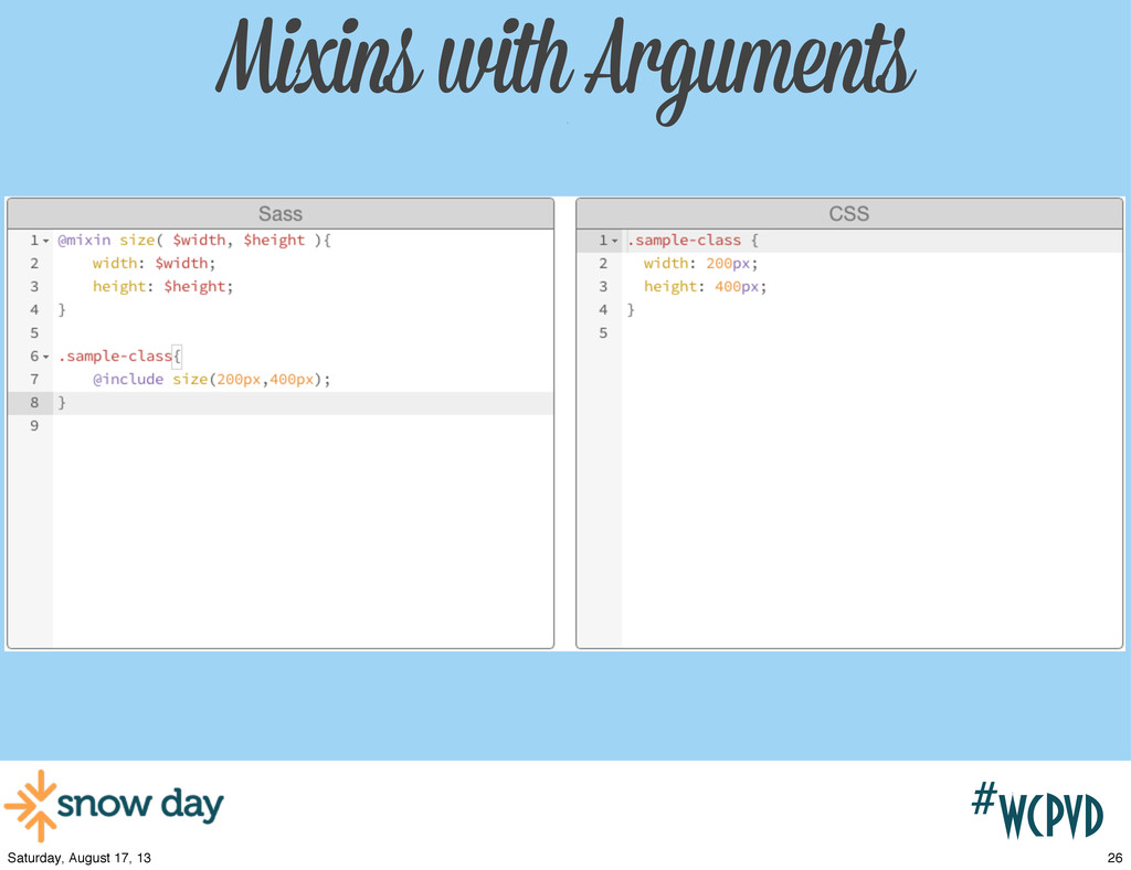 #wcpvd Mixins with Arguments w/ 26 Saturday, Au...