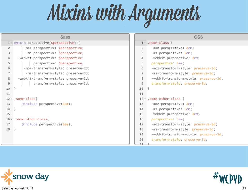 #wcpvd Mixins with Arguments w/ 27 Saturday, Au...