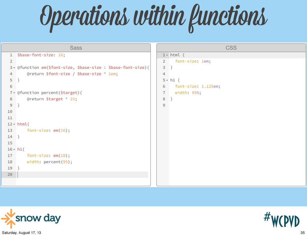 #wcpvd Operations within functions 35 Saturday,...
