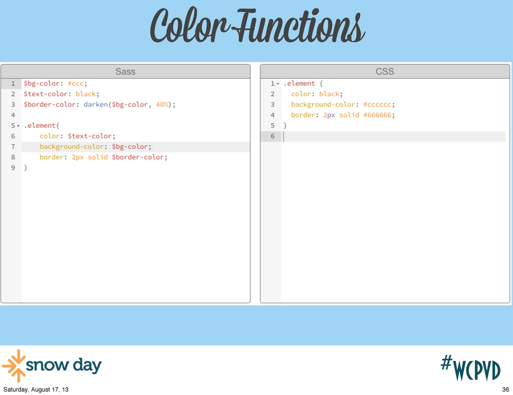 #wcpvd Color Functions 36 Saturday, August 17, ...