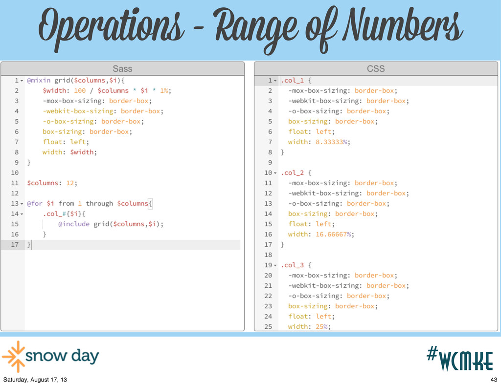 #wcpvd #wcmke Operations - Range of Numbers 43 ...