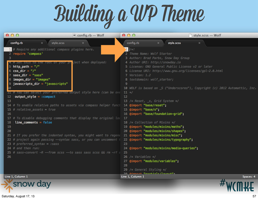 #wcpvd #wcmke Building a WP Theme 57 Saturday, ...