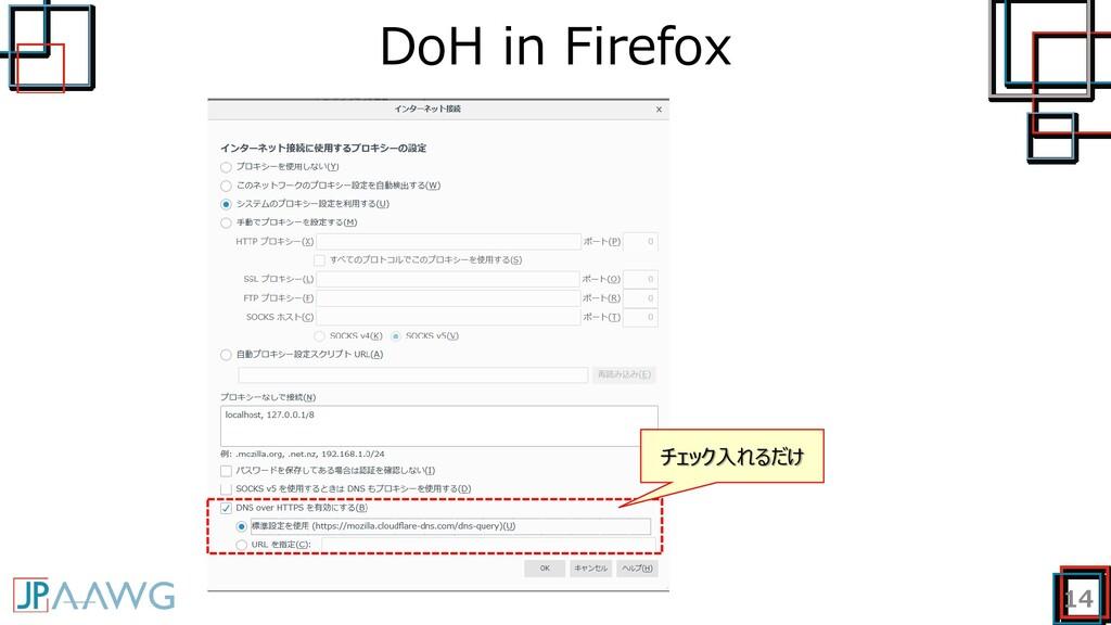 DoH in Firefox 14 チェック入れるだけ