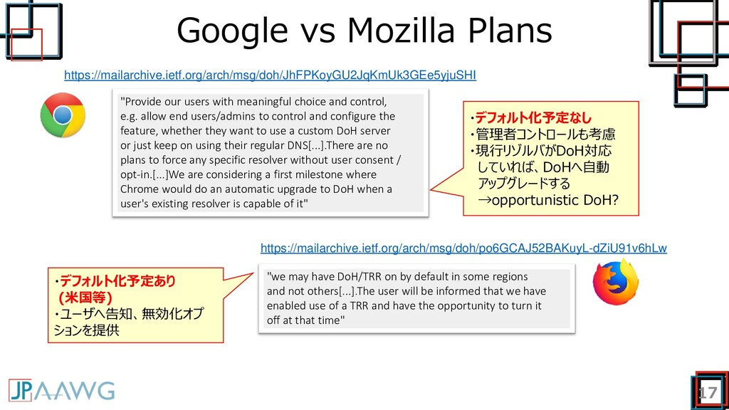 "Google vs Mozilla Plans 17 ""Provide our users w..."