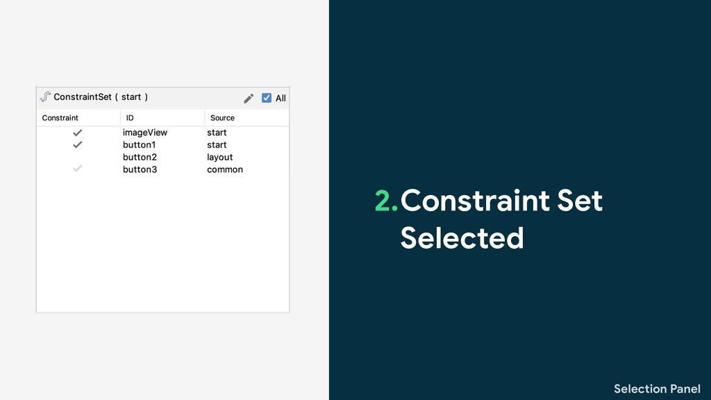 Selection Panel 2.Constraint Set Selected