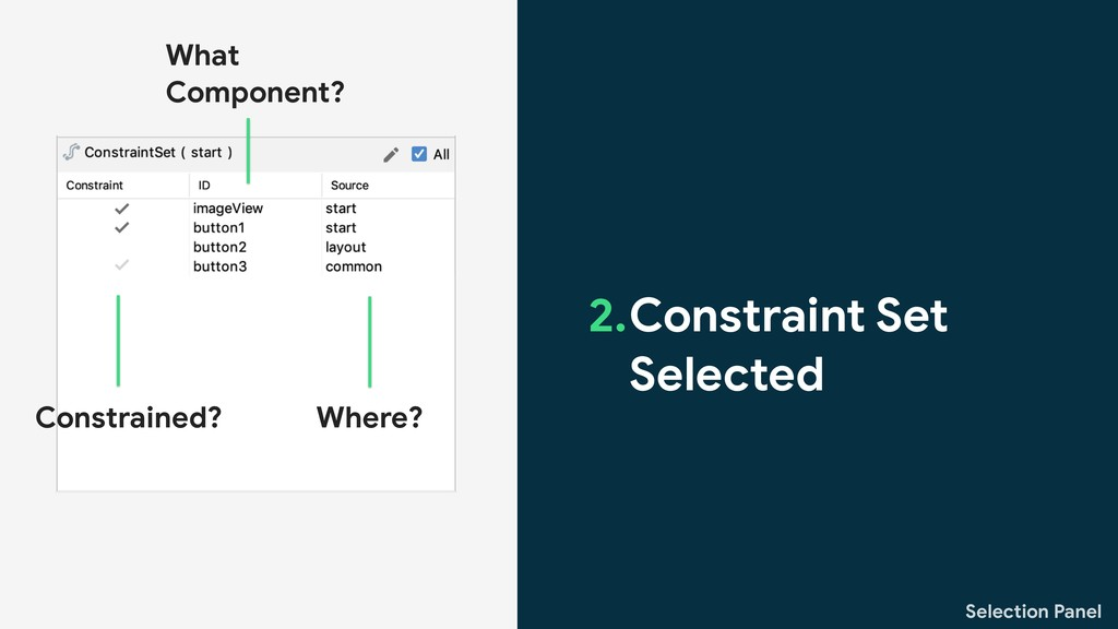 Selection Panel 2.Constraint Set Selected Const...
