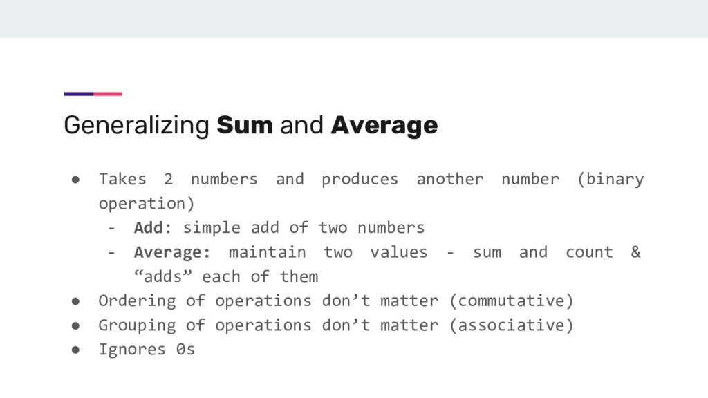 Generalizing Sum and Average ● Takes 2 numbers ...