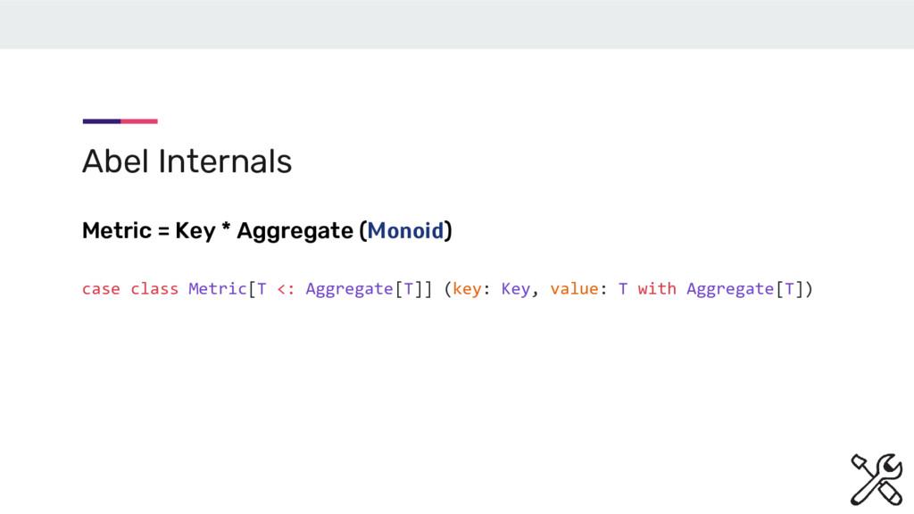 Abel Internals Metric = Key * Aggregate (Monoid...