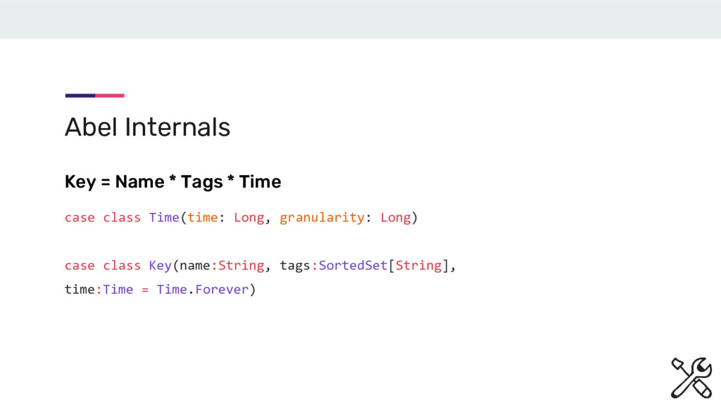 Abel Internals Key = Name * Tags * Time case cl...