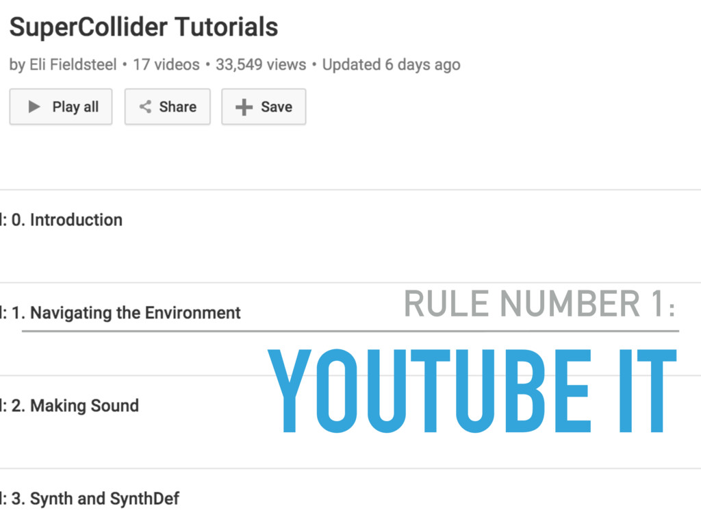 YOUTUBE IT RULE NUMBER 1: