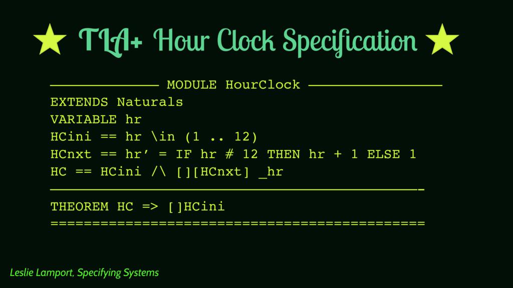 Hour Clock Specification ————————————— MODULE Ho...