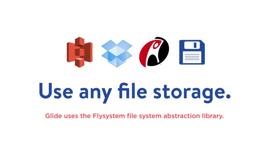Use any file storage. Glide uses the Flysystem fi...