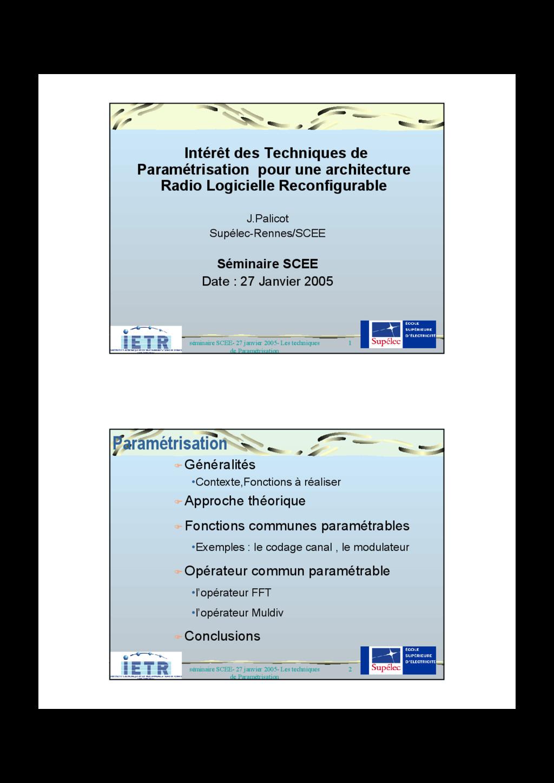 1 séminaire SCEE- 27 janvier 2005- Les techniqu...