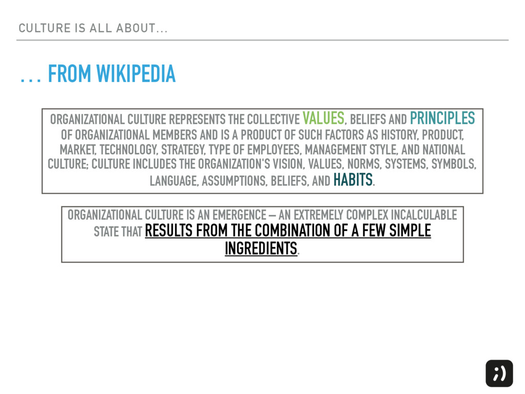 CULTURE IS ALL ABOUT… … FROM WIKIPEDIA ORGANIZA...