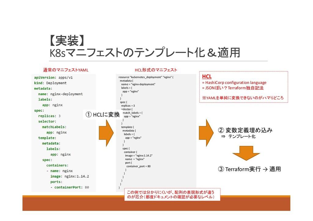 【実装】 K8sマニフェストのテンプレート化&適用 通常のマニフェストYAML resourc...