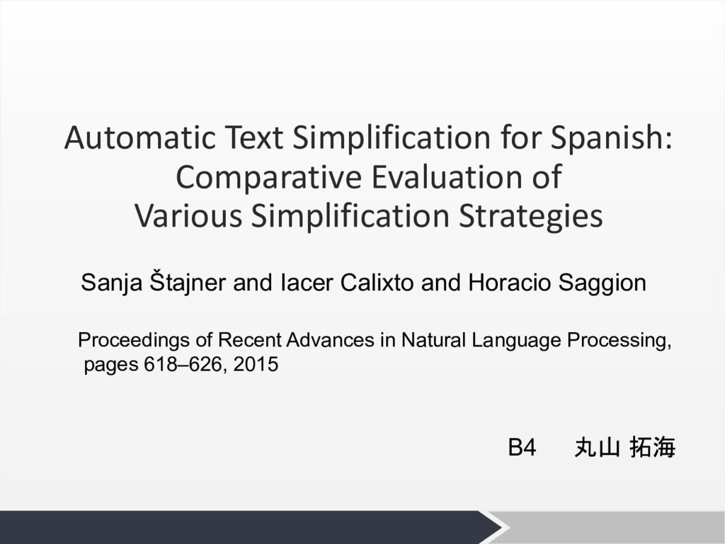 Automatic Text Simplification for Spanish: Comp...