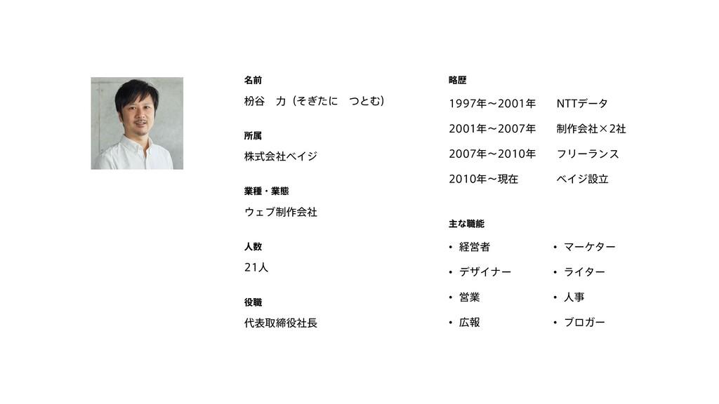 枌谷 力(そぎたに つとむ) 名前 21人 人数 代表取締役社長 役職 略歴 1997年~20...