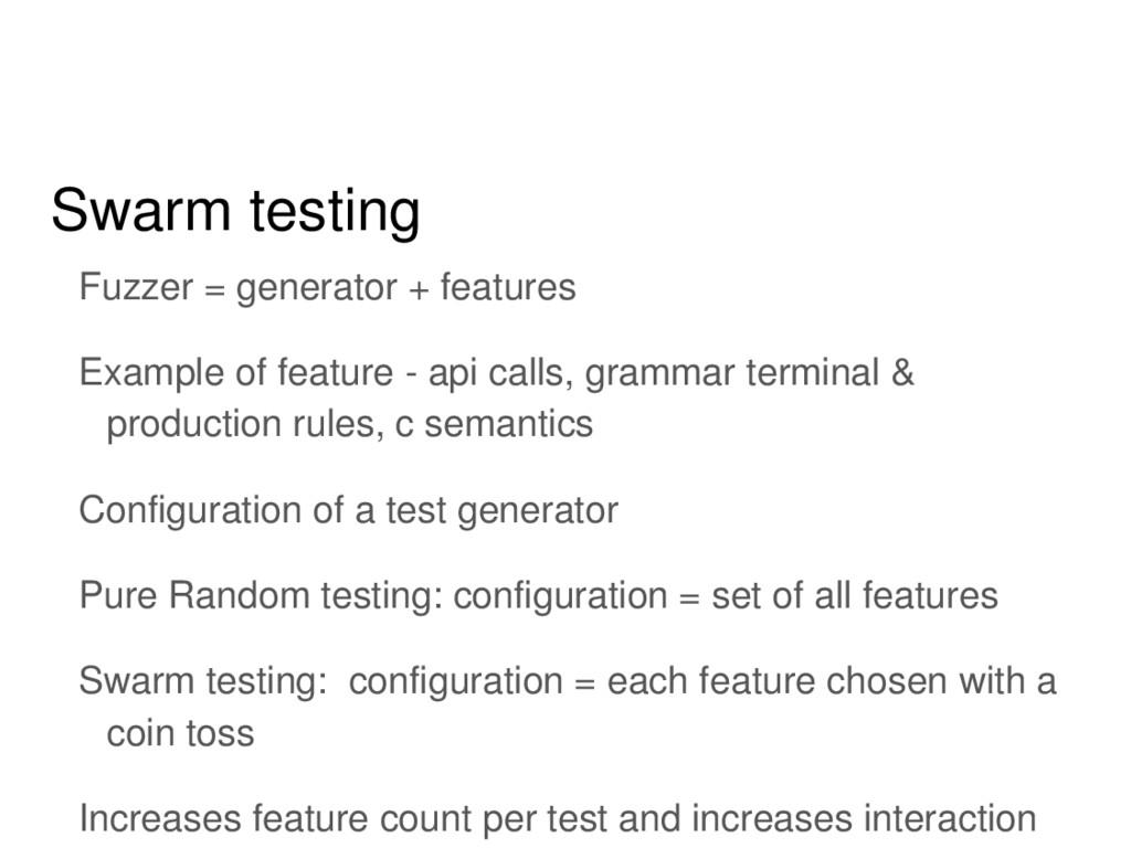 Swarm testing Fuzzer = generator + features Exa...