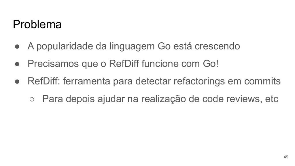 Problema ● A popularidade da linguagem Go está ...