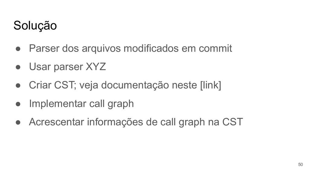 Solução ● Parser dos arquivos modificados em co...
