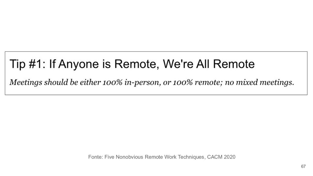 67 Fonte: Five Nonobvious Remote Work Technique...
