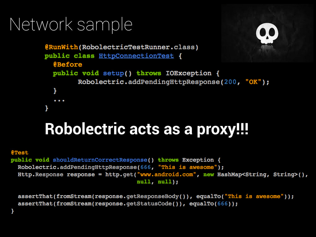 Network sample Robolectric acts as a proxy!!!