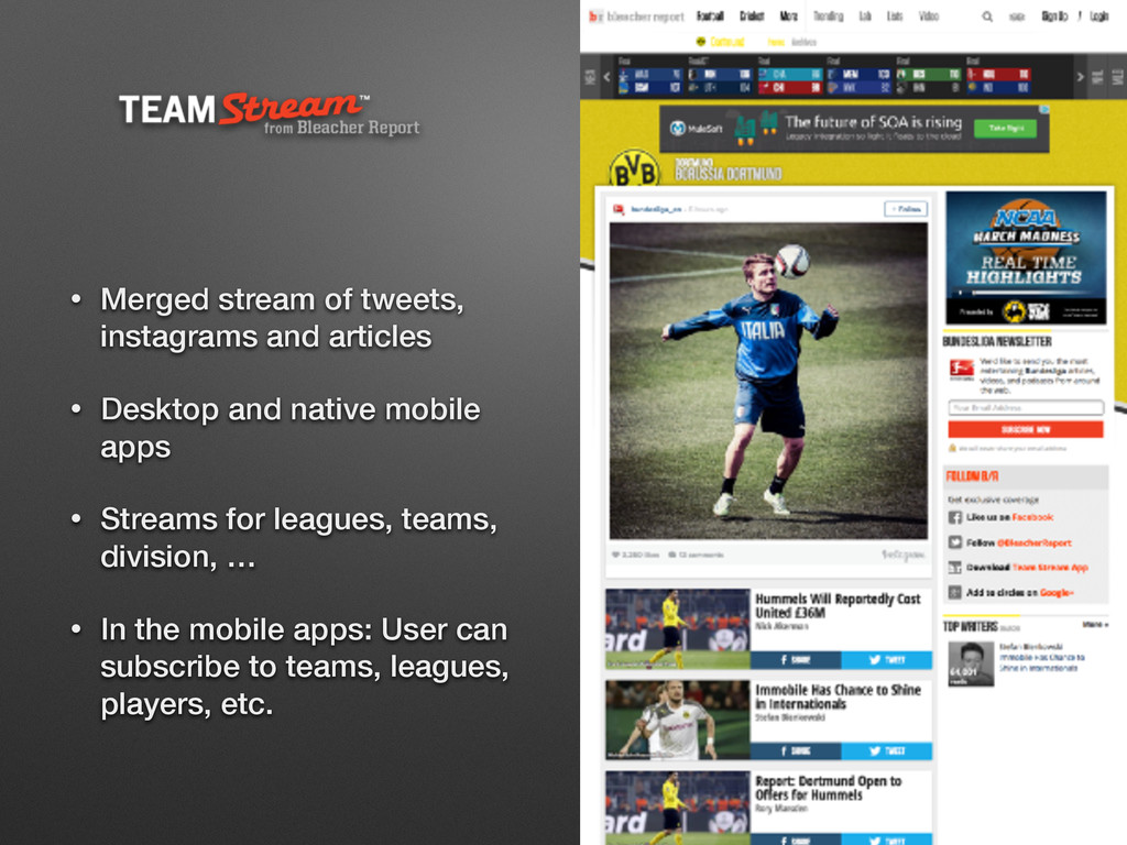 • Merged stream of tweets, instagrams and artic...