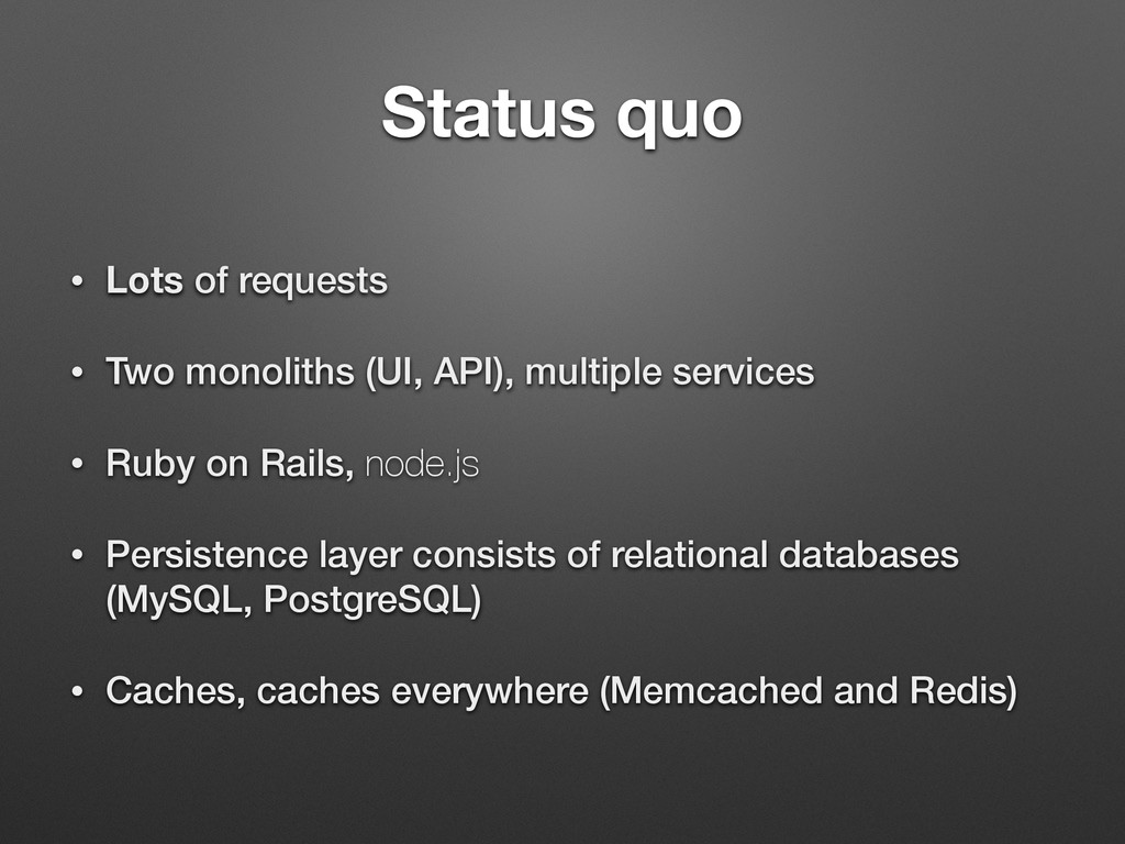 Status quo • Lots of requests • Two monoliths (...