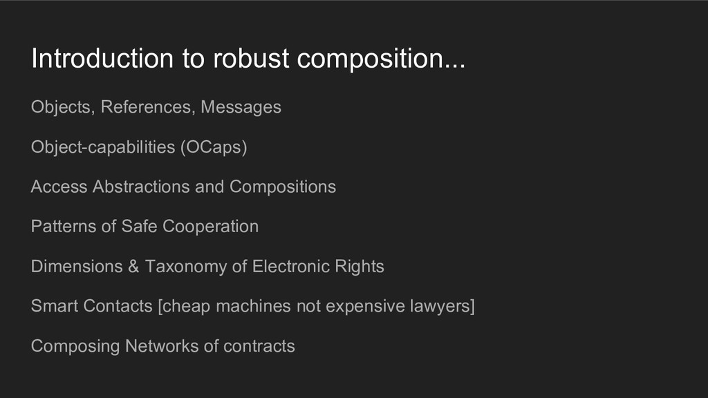 Introduction to robust composition... Objects, ...