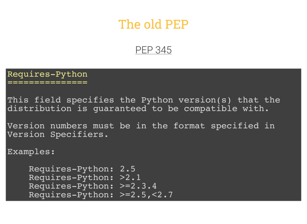 The old PEP PEP 345 Requires-Python ===========...