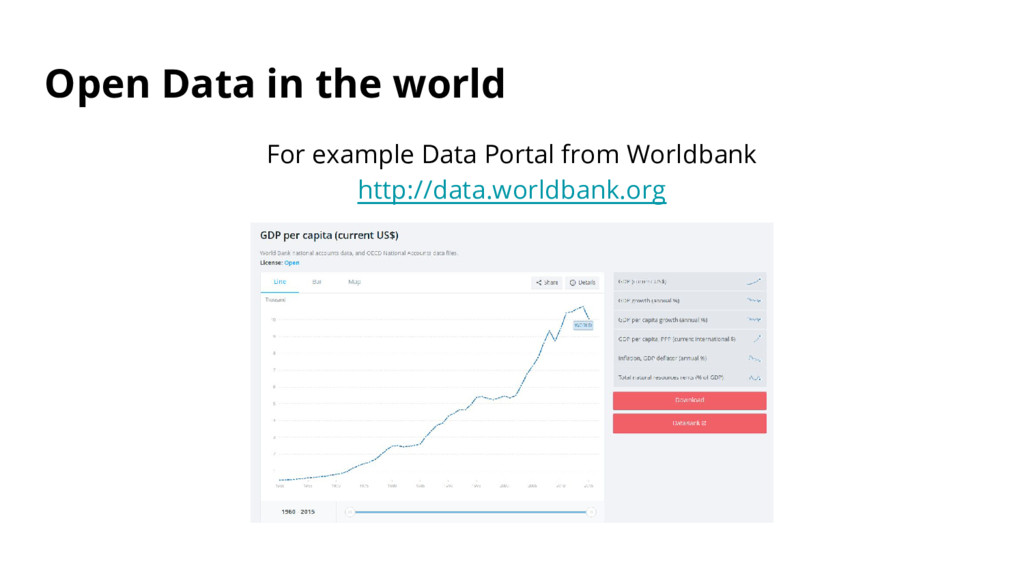 Open Data in the world For example Data Portal ...